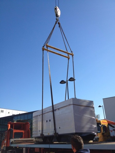 Data Centre Generator Being Lifted By Crane