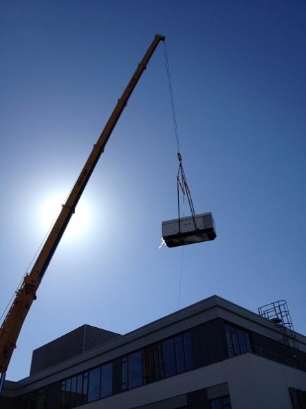 Data Centre Generator Suspended Above Building